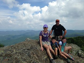 Jeff, his wife, and their children along the Appalachian Trail