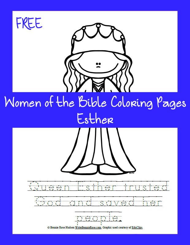 Free Women of the Bible Coloring Page-Esther | Christian ...