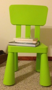 Preschool Bible storybooks on chair