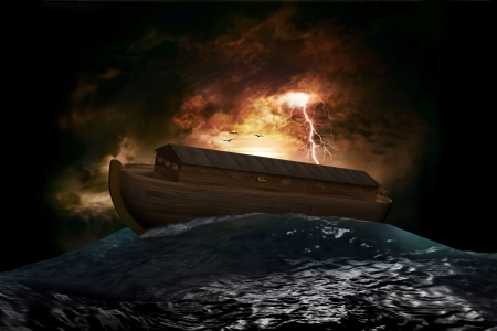 7038326 - noah's ark riding on a swell after the great flood
