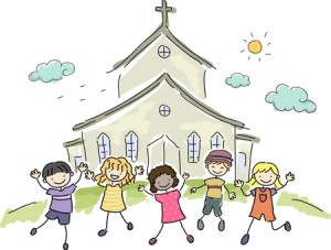 35170104 - illustration of kids standing happily in front of a church